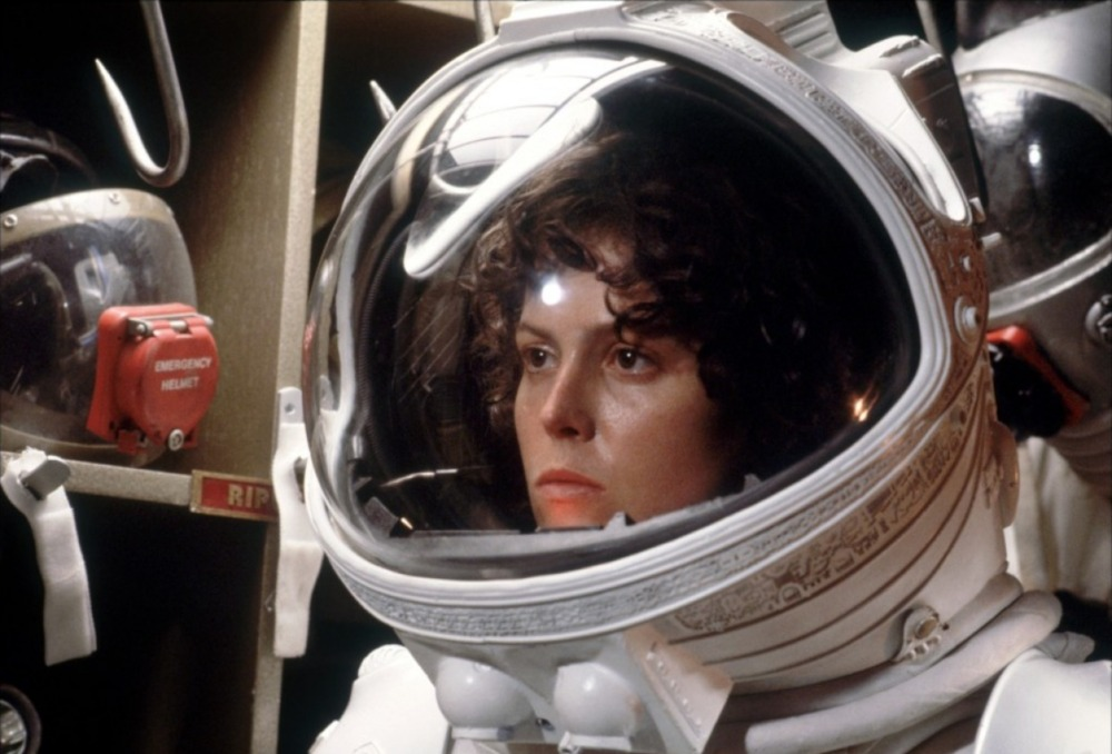 Ripley in her space suit, from the film Alien; original full color, no dither