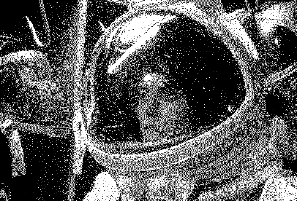 Ripley in her space suit, from the film Alien; error diffusion dither