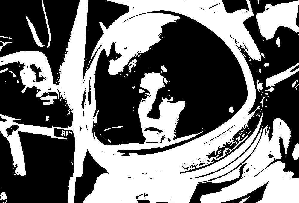 Ripley in her space suit, from the film Alien; threshold dither